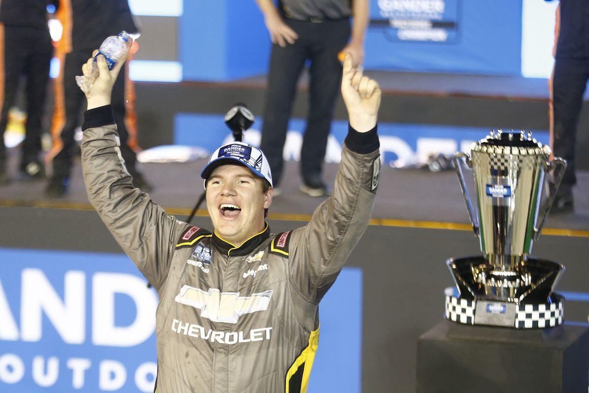 Sheldon Creed celebrates winning the Lucas Oil 150 which netted him the Truck Series Championship during the 2020 NASCAR Championship Truck series finale at Phoenix Raceway in Avondale, Ariz. on Nov. 6, 2020.