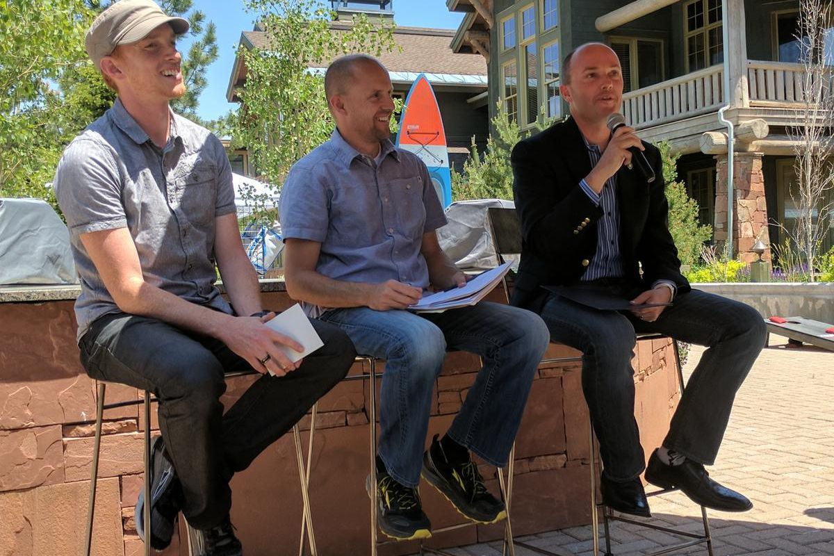 Lt. Gov. Spencer Cox, right, speaks during a panel discussion at an outdoor industry event at Deer Valley in Park City on Wednesday, June 21, 2017. He was joined by Tom Adams,  director of the Utah Office of Outdoor Recreation, center, and Golden Harper f