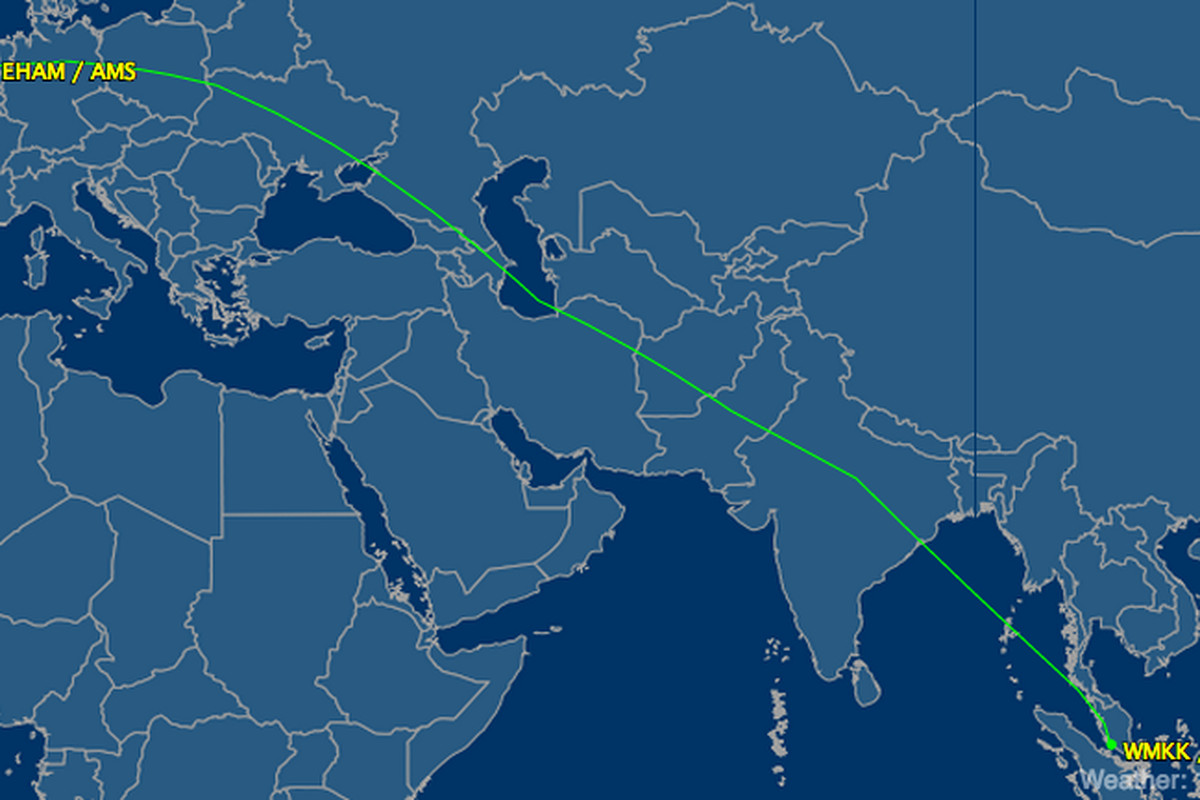 The usual Malaysian Airlines route from Amsterdam to Kuala Lumpur