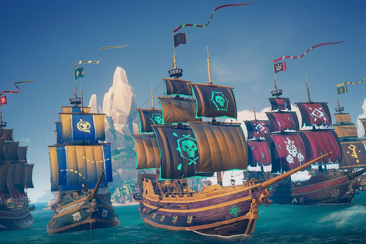 Sea of Thieves - five ships, each representing the major factions of the game, line up to sail outside of Ancient Spire Outpost