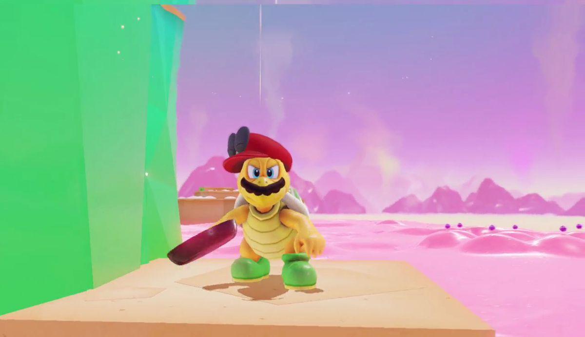 super mario odyssey - mario as a turtle man