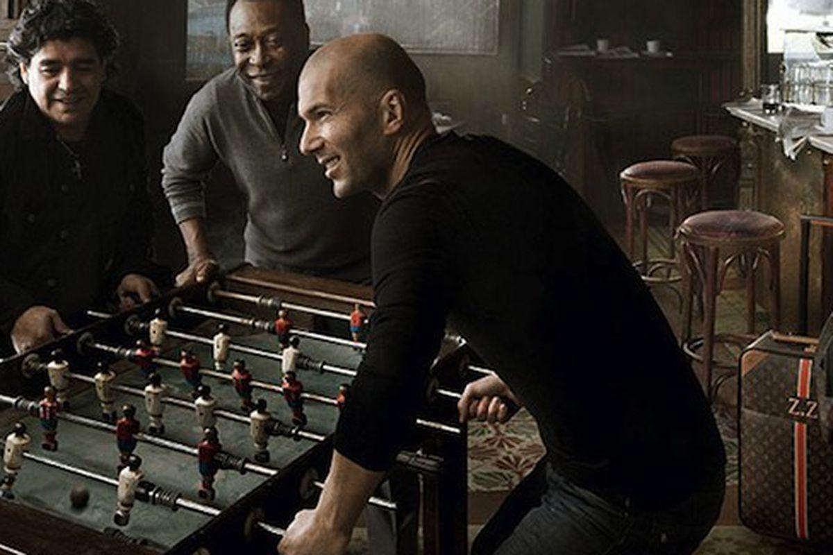 """Zinedine Zidane in the June 2010 Louis Vuitton campaign, via <a href=""""http://revistaquem.globo.com/Revista/Quem/0,,EMI135140-8197,00.html"""">Quem</a>"""