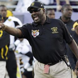 Grambling State head coach Doug Williams yells from the sideline during the first half of an NCAA college football game against TCU in Fort Worth, Texas, Saturday, Sept. 8, 2012.