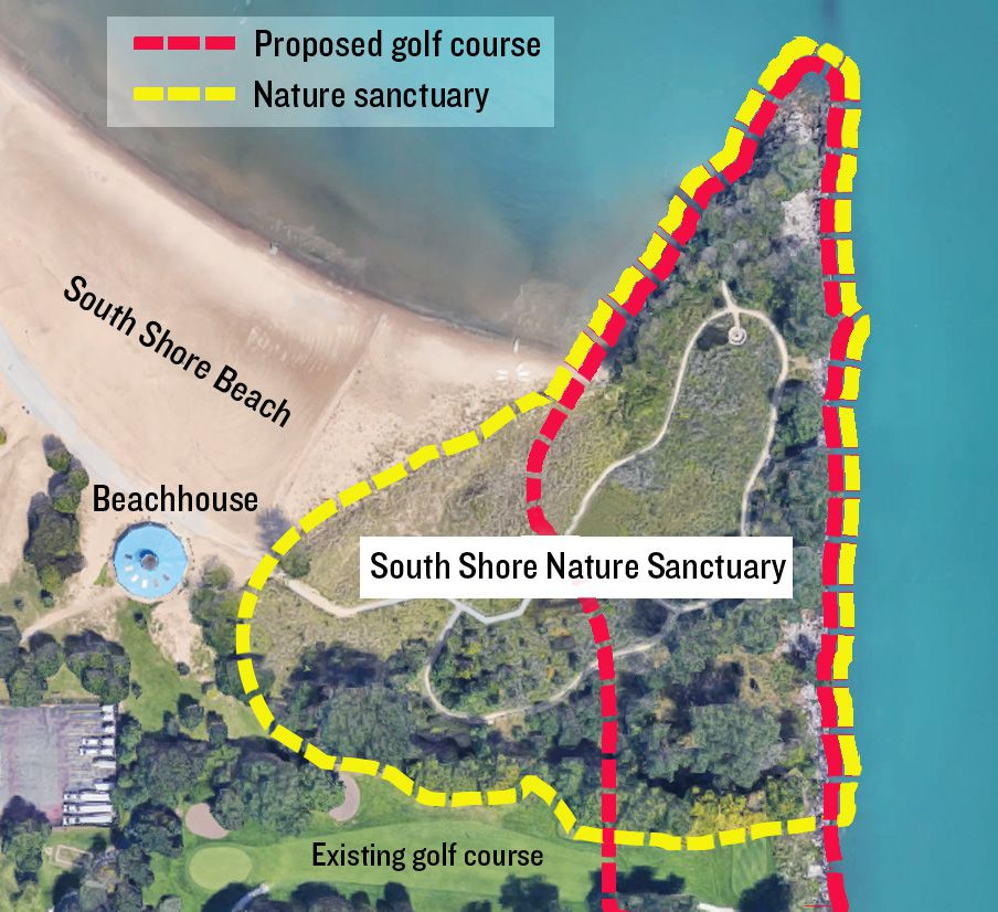 The dotted lines roughly approximate the existing South Shore Nature Sanctuary and the 12th hole, as currently drawn, of the proposed new golf course.
