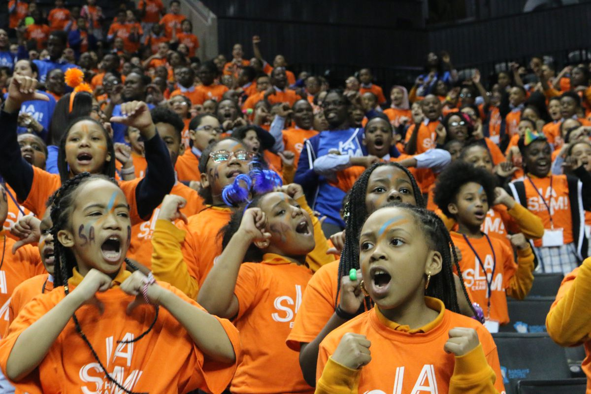"""Success Academy hosts its annual """"Slam the Exam"""" rally at the Barclays Center."""