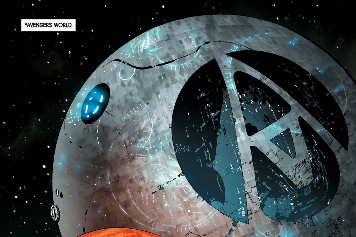 A massive grey techno-planet with a swooping Avengers logo, in Avengers #32, Marvel Comics (2014).