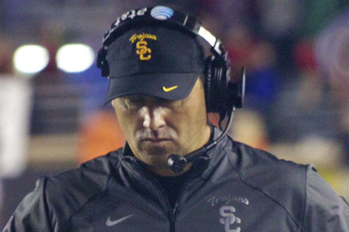 USC head coach Steve Sarkisian during the Boston College game.