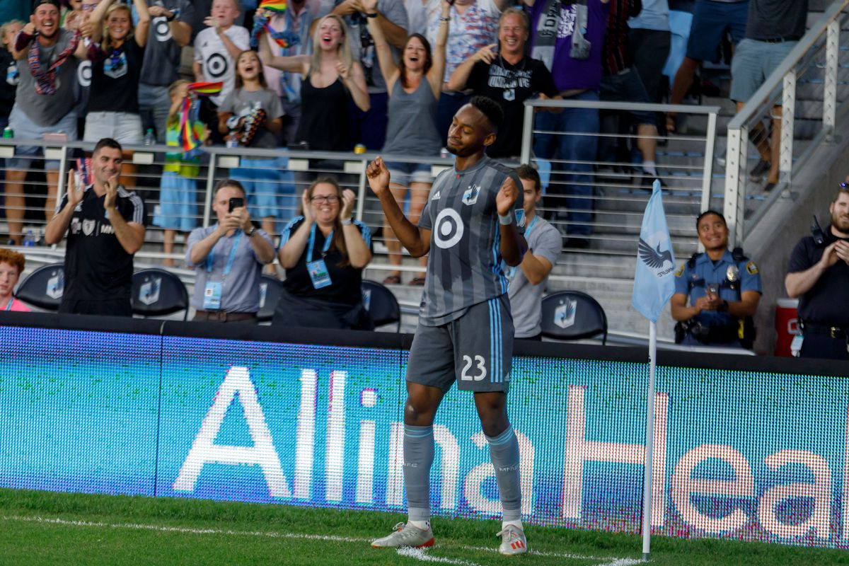 July 13, 2019 - Saint Paul, Minnesota, United States - Minnesota United forward Mason Toye (23) celebrates with his team mates after scoring a goal in the 90'+1' of the match FC Dallas match at Allianz Field.