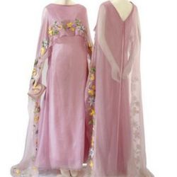 Christian Dior Pink Chiffon and Raffia Embroidered Evening Gowns
