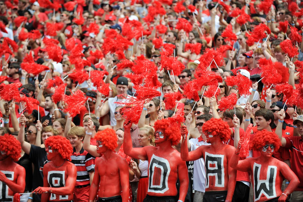 September 1, 2012; Athens, GA, USA;  Georgia Bulldogs fans during the game against the Buffalo Bulls at Sanford Stadium. Mandatory Credit: Kevin Liles-US PRESSWIRE