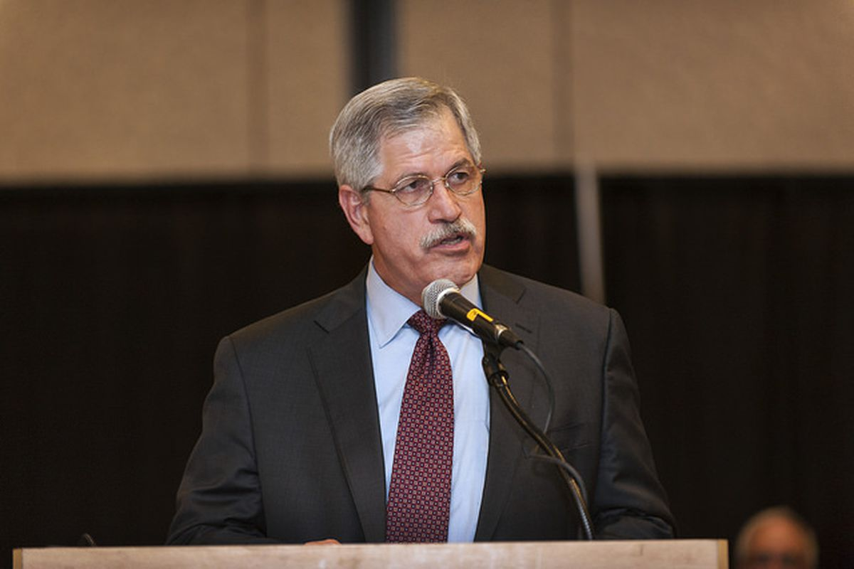 Hamilton County Schools Superintendent Rick Smith speaks at a 2014 event in Chattanooga. The district's school board recently voted to buy out Smith's contract in the fallout over a high school basketball team scandal.