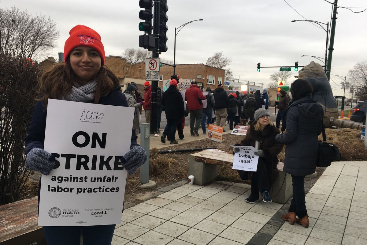 Susana Urquiza, a teacher at Major Hector P. Garcia M.D. High School, from the picket line on Dec. 4, 2018.