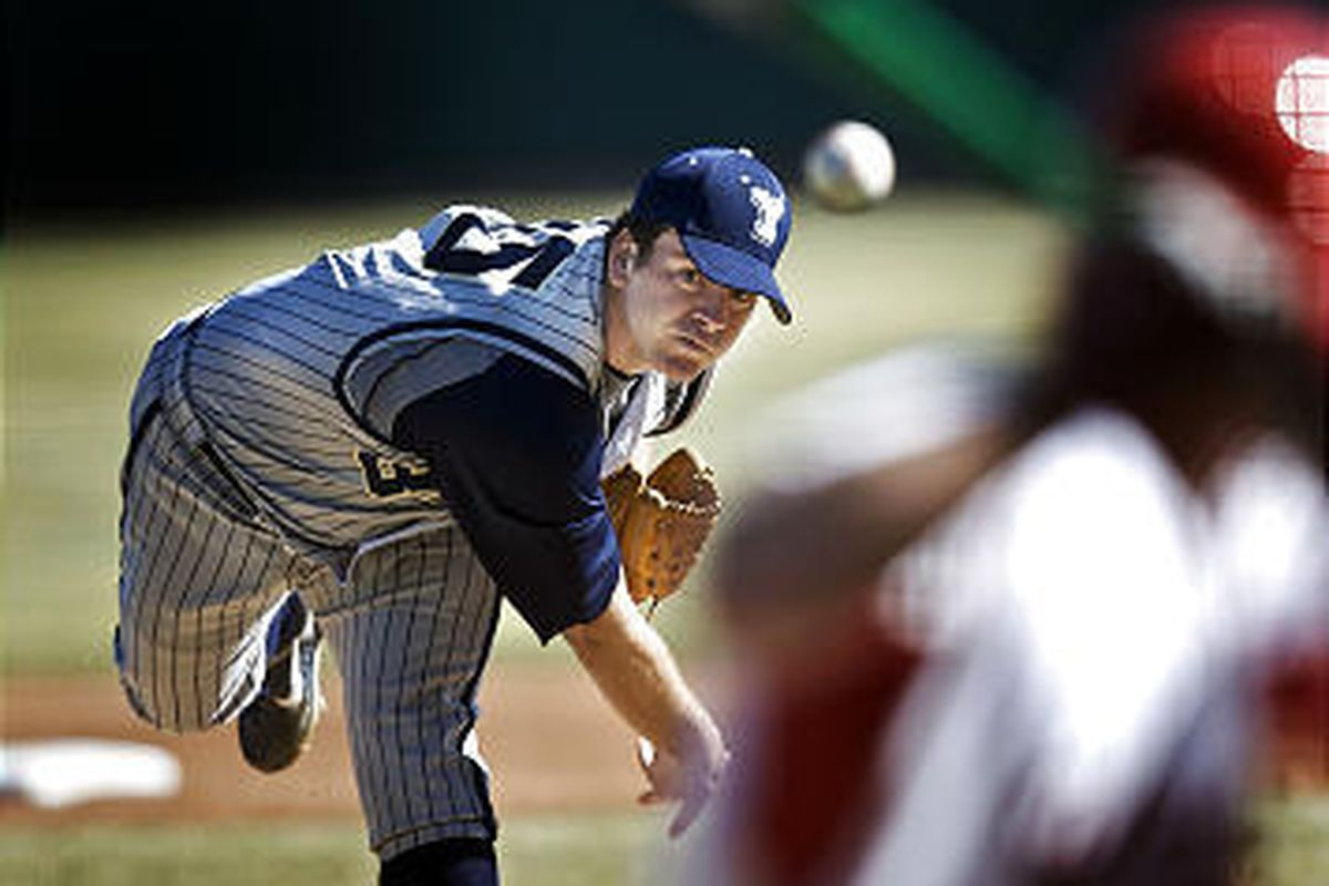 BYU pitcher Jeremy Toole pitches a complete game winning 4-1 over Utah in the Mtn. West Conference opener for both teams at Franklin Covey Field in Salt Lake City, Utah, Thursday, March 12, 2009.  August Miller, Deseret News