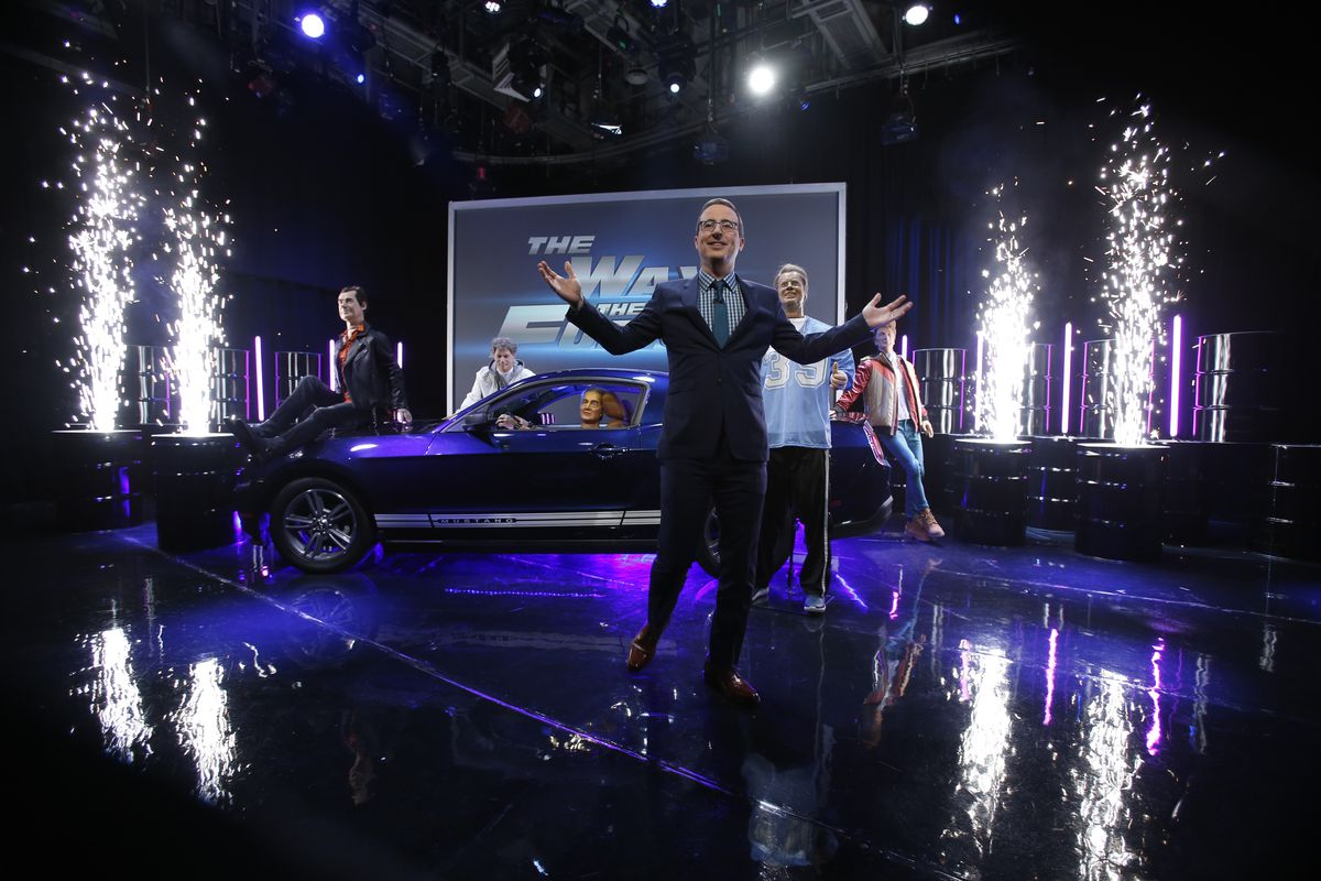 John Oliver and the wax presidents do a Fast & Furious reboot in the fifth season finale of Last Week Tonight on November 18, 2018.