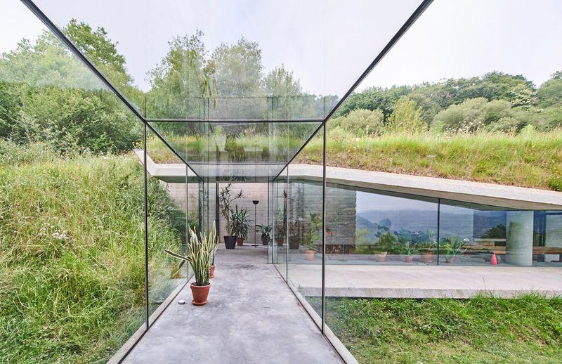 Glass corridor leading to addition.