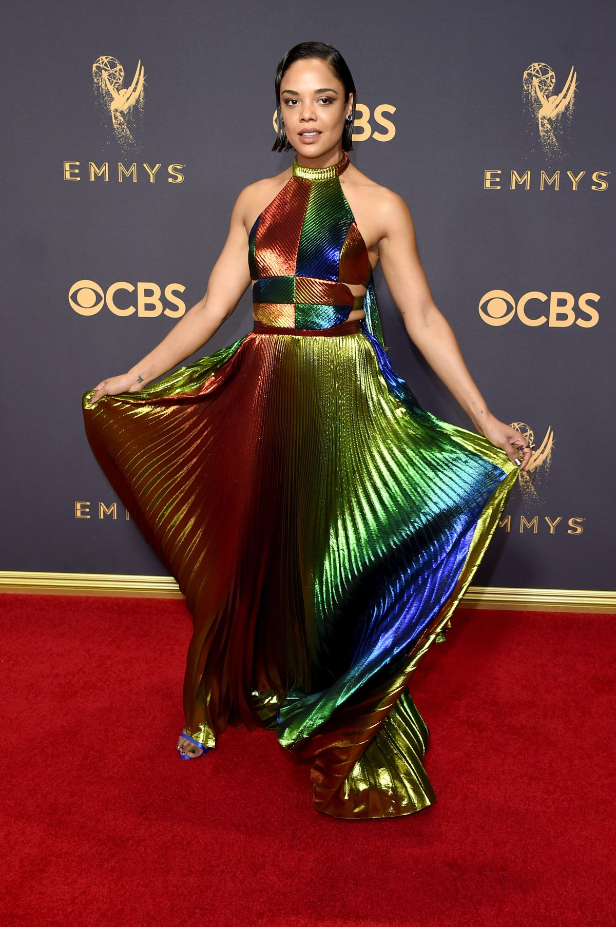 Tessa Thompson in Rosie Assoulin at the 2017 Emmys