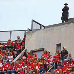 An officer stands on top of Ohio Stadium.