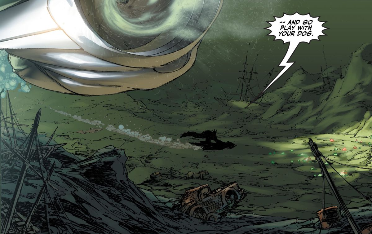 """""""Go play with your dog,"""" Batman tells Superman as he scuba dives to the bottom of Gotham Harbor, in Superman/Batman #8, DC Comics (2004)."""