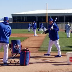 Anthony Rizzo at 1B (background) ready for a fielding drill