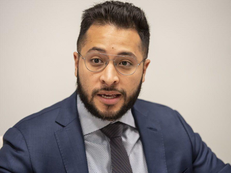 25th Ward aldermanic candidate Hilario Dominguez addresses the Sun-Times Editorial Board last month. File Photo. | Rich Hein/Sun-Times