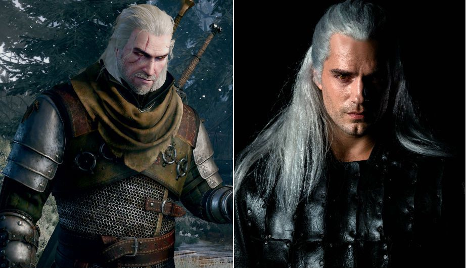 geralt in the witcher video games and henry cavill as geralt in netflix series