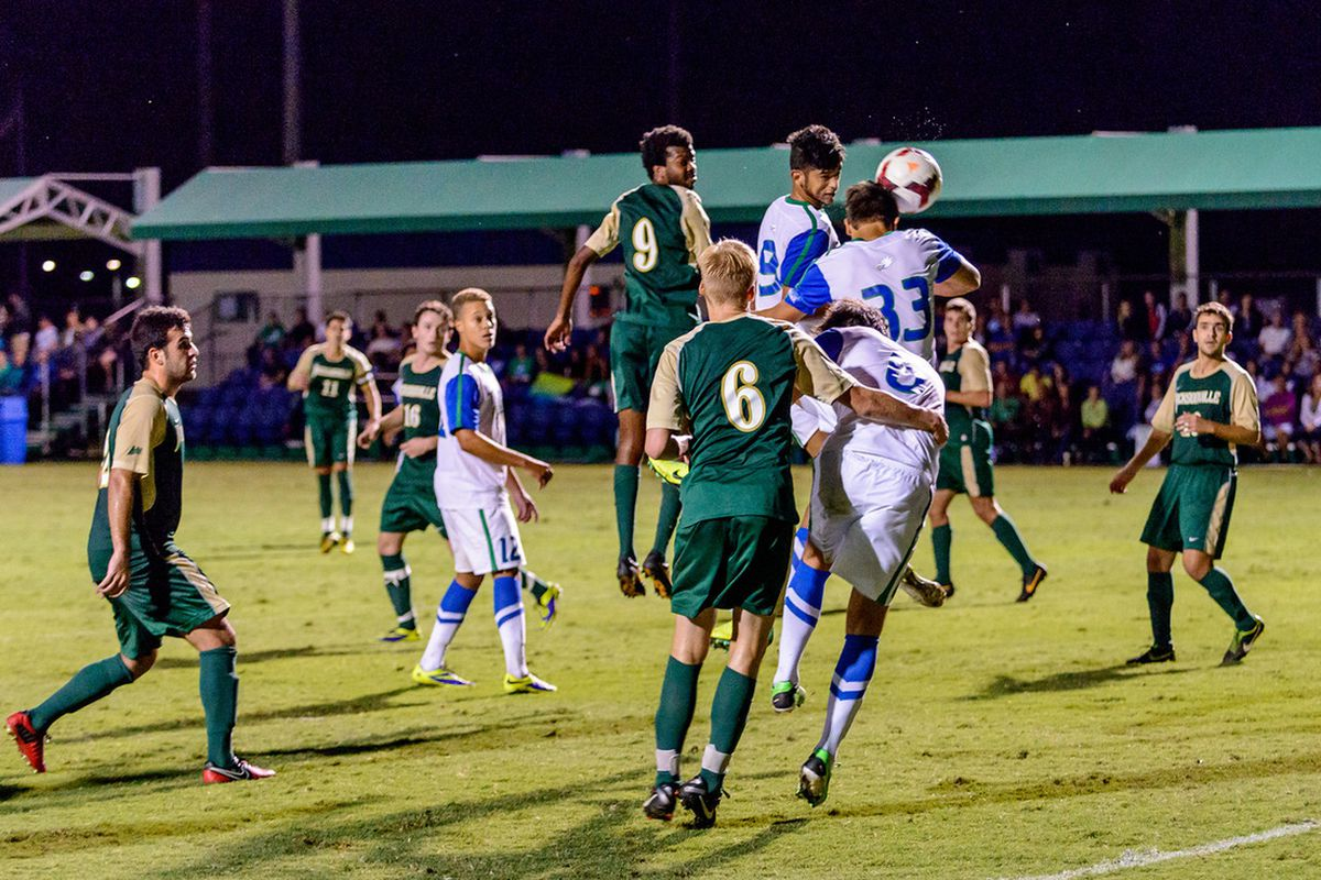 Aaron Guillen (33) scores a goal this past week for FGCU.