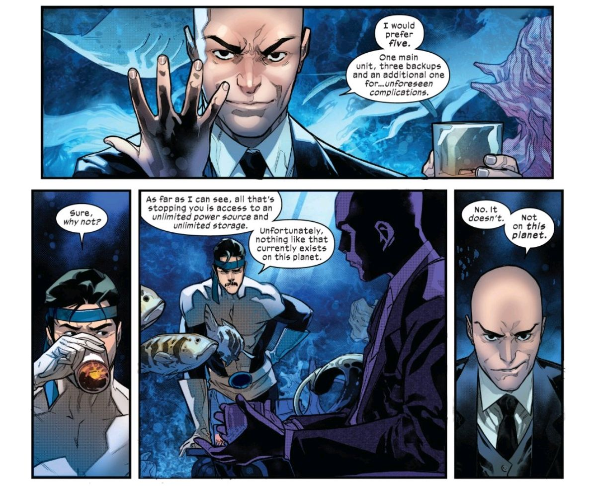 Professor X explains to Forge that he would need five backups of his collection of the minds of every mutant, requiring materials not of this planet, in Powers of X #5, Marvel Comics (2019).