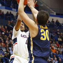 The Drexel Dragons take on the UConn Huskies in a men's college basketball game at the XL Center in Hartford, CT on December 18, 2018
