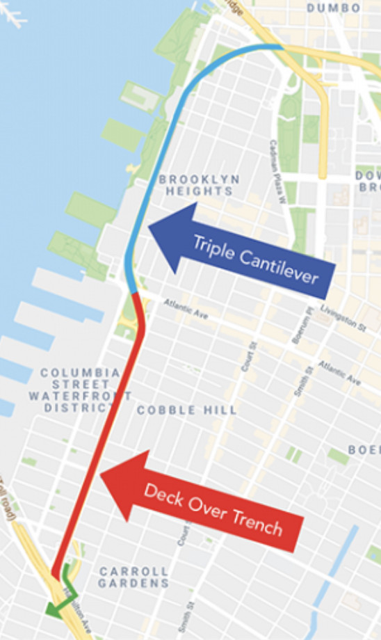 A google map image of Brooklyn Height and Cobble Hill that highlights the triple cantilever portion of the Brooklyn Queens Expressway in blue and the Cobble Hill trench in red.