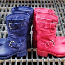 Freelance marine and red biker boots