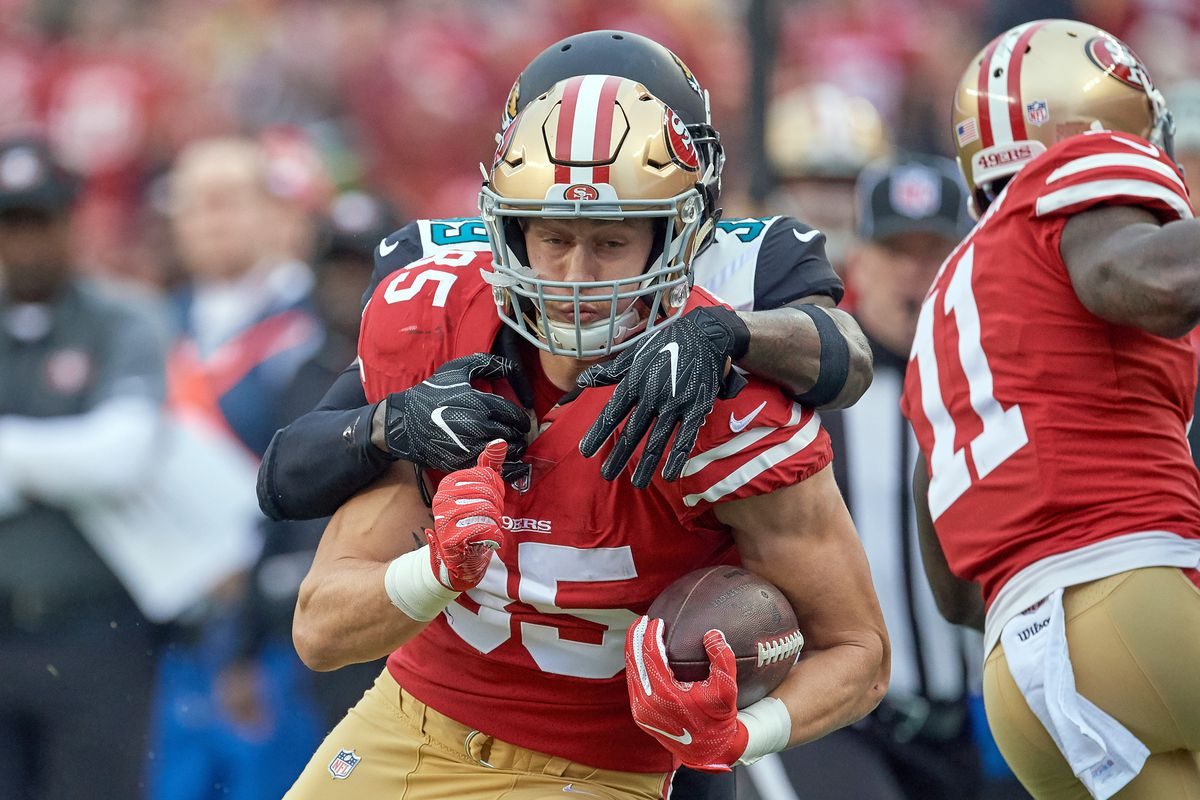 Jacksonville Jaguars free safety Tashaun Gipson (39) tackles San Francisco 49ers tight end George Kittle (85) during an NFL game between the Jacksonville Jaguars and the San Francisco 49ers at Levi's Stadium on December 24, 2017 in Santa Clara, California.