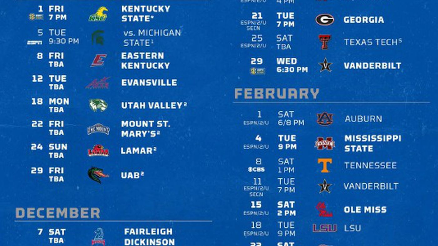 Kentucky Basketball 2019 20 Schedule Set A Sea Of Blue
