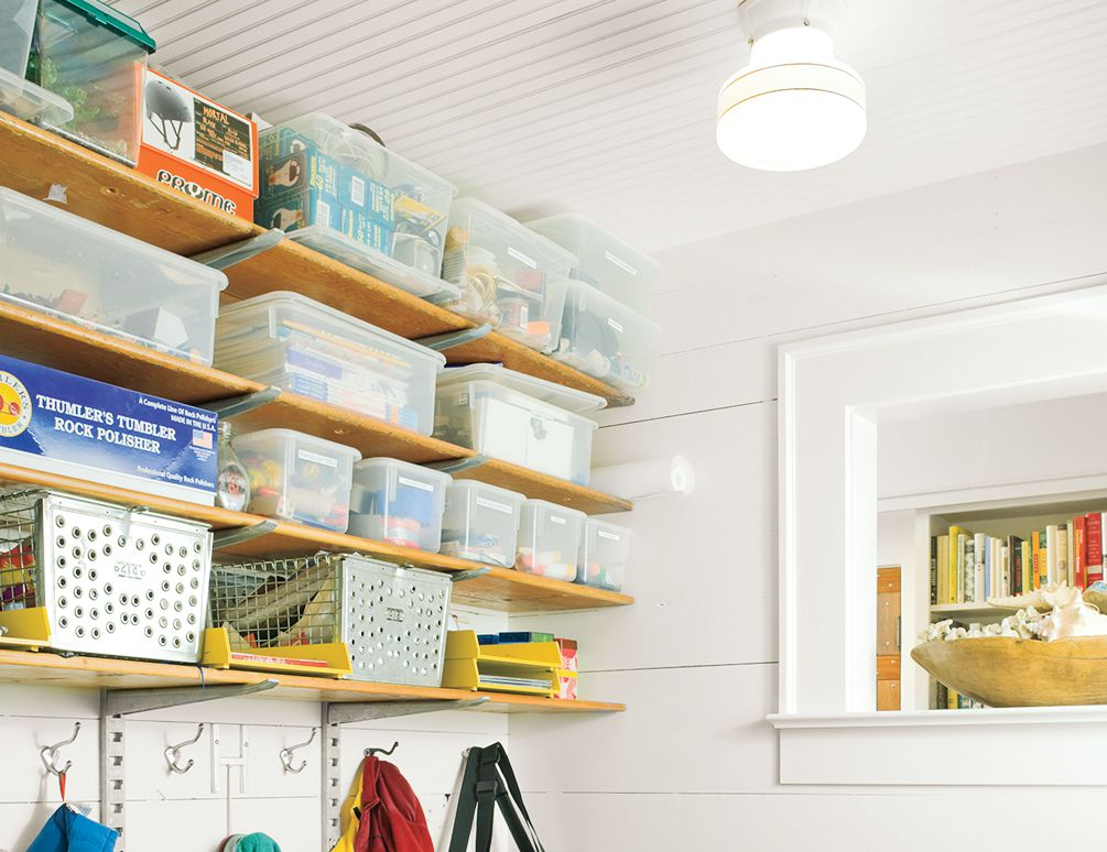 Wall-Mounted Unit In Mudroom With Multiple Levels Of Storage Space