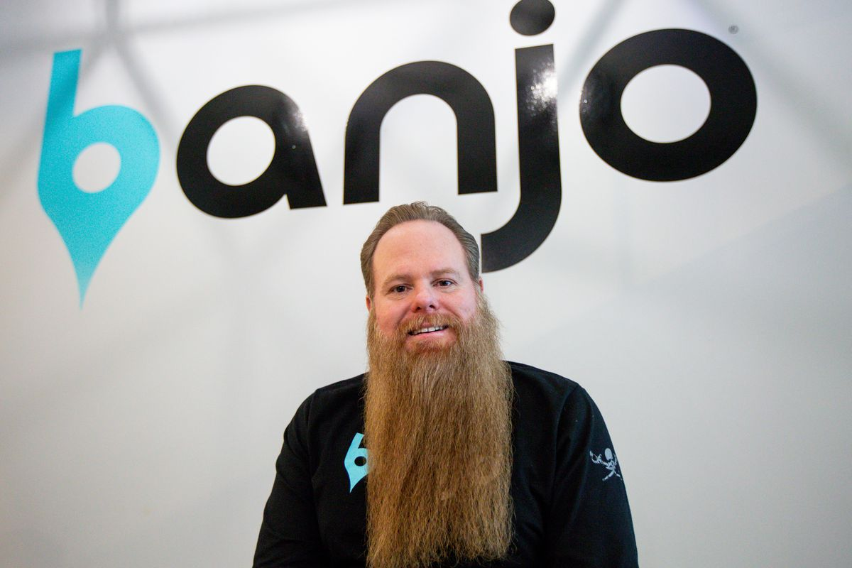 Damien Patton, Banjo founder and CEO, poses for a portrait at the company's office in South Jordan on Monday, March 9, 2020.