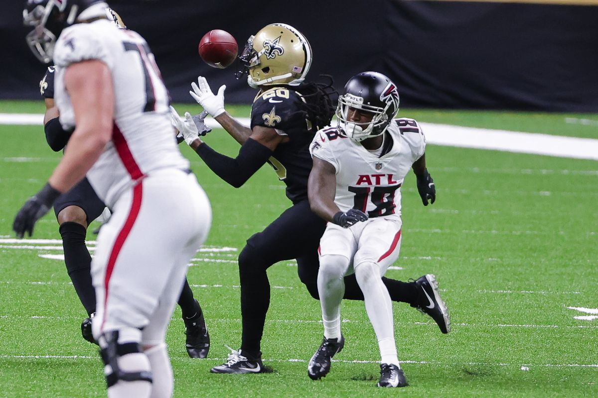 New Orleans Saints cornerback Janoris Jenkins (20) intercepts a pass intended for Atlanta Falcons wide receiver Calvin Ridley (18) during the second half at the Mercedes-Benz Superdome.
