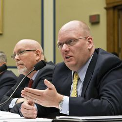 From right to left, Eric Nordstrom, the State Department's former regional security officer in Libya, Gregory Hicks, former deputy chief of mission in Libya, and Mark Thompson, the State Department's acting deputy assistant secretary for counterterrorism, testify at a House Oversight Committee hearing about last year's deadly assault on the U.S. diplomatic mission in Benghazi, Libya, on Capitol Hill in Washington, Wednesday, May 8, 2013.