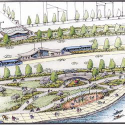 A 2013 artist's rendering of one concept for Lake Shore Drive from the Active Transporation Alliance, with rapid transit lanes on either side of the median.