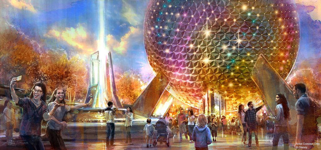 At World Celebration in Epcot, concept art of Spaceship Earth
