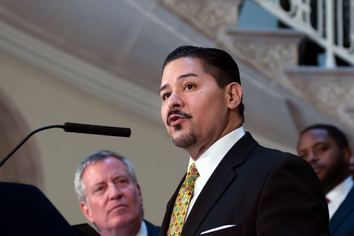 New York City Department of Education Chancellor Richard A. Carranza speaks at City Hall about the importance of mayoral control of the schools, March 7, 2019.