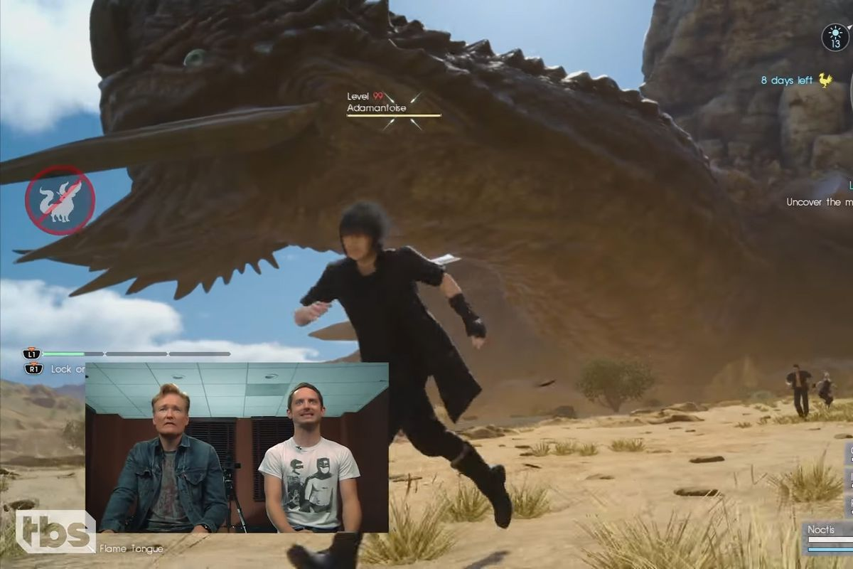 This screencap is taken from Conan O'Brien's Clueless Gamer segment. In the greater screenshot, from Final Fantasy 15, main character Noctis runs in the foreground, with his friends running in the background. Behind them is a massive turtle creature with