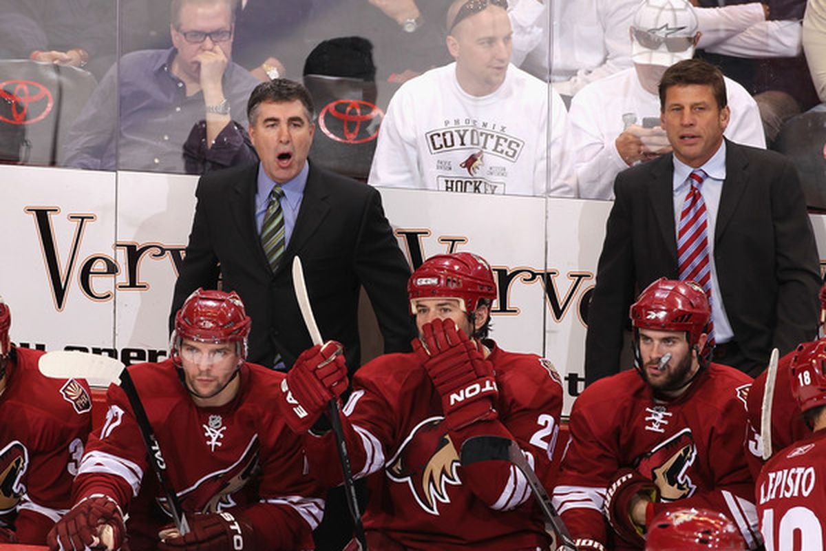 GLENDALE, AZ - MAY 6:  Head coach Dave Tippett of the Phoenix Coyotes is shocked, SHOCKED! when the Reinsdorf deal with Glendale 'reportedly' falls through. Robert Lang equally aghast.