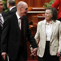 President Henry B. Eyring leaves the afternoon session of the 182nd Annual General Conference for The Church of Jesus Christ of Latter-day Saints at the LDS Conference Center in Salt Lake City on Saturday, March 31, 2012.