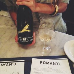 Finished my day with some sparkling Malvessa wine at Roman's (my neighborhood hang out and favorite restaurant in NYC). Geneva, a friend and server at Roman's, explained that this sparkling Malvasia wine is what fairy princesses drink. That description wo