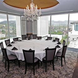"""Special dining room at """"The Roof"""" Restuarant  at the Joseph Smith Memorial Building for a special section on Hotel Utah's centennial Wednesday, May 18, 2011, above Salt Lake City, Utah."""