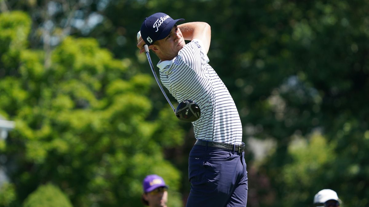 Justin Thomas tees off on the 6th hole during the second round of the Travelers Championship golf tournament at TPC River Highlands.