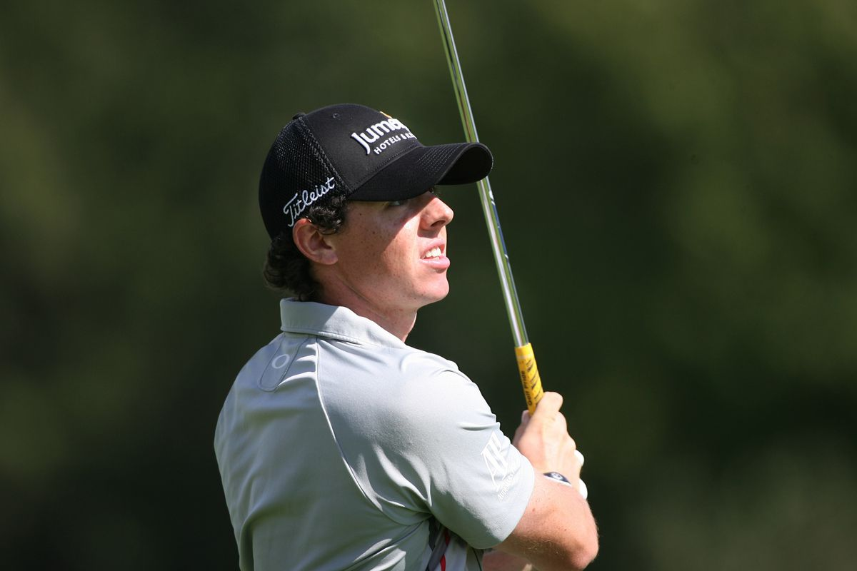 Sep 9, 2012; Carmel, IN, USA; Rory McIlroy hits out of the 9th fairway during the BMW Championship at Crooked Stick Golf Club. Brian Spurlock-US PRESSWIRE