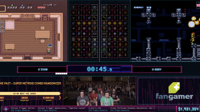 Andy and Ivan playing <em>Super Metroid/A Link to the Past </em>Randomizer on SNES (really) at Summer Games Done Quick 2019.