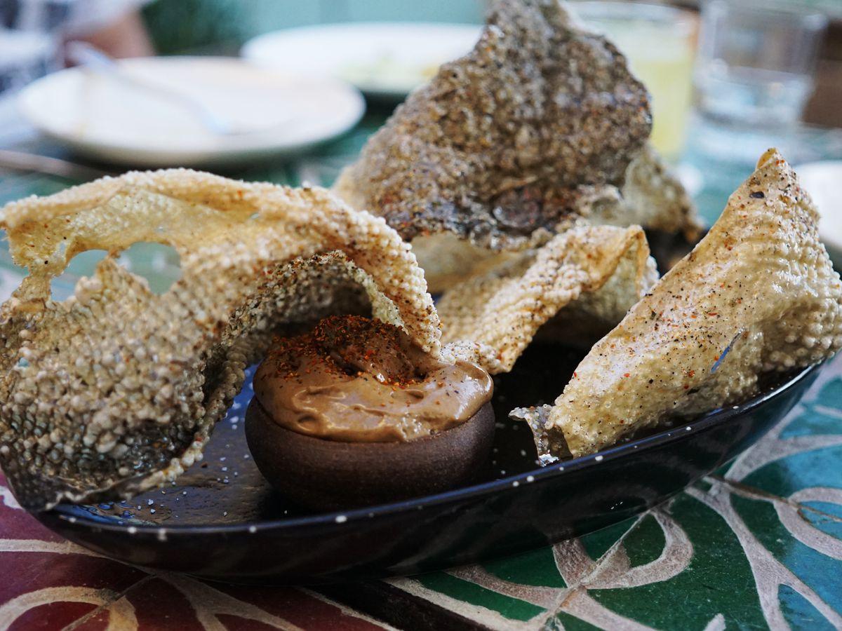 Salmon skin chicharron from Mirame in Beverly Hills.