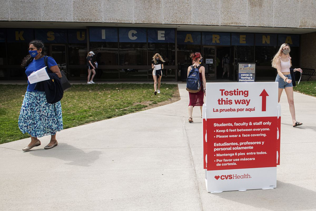 Students exit the KSU Ice Arena after getting their Johnson & Johnson COVID-19 vaccination.