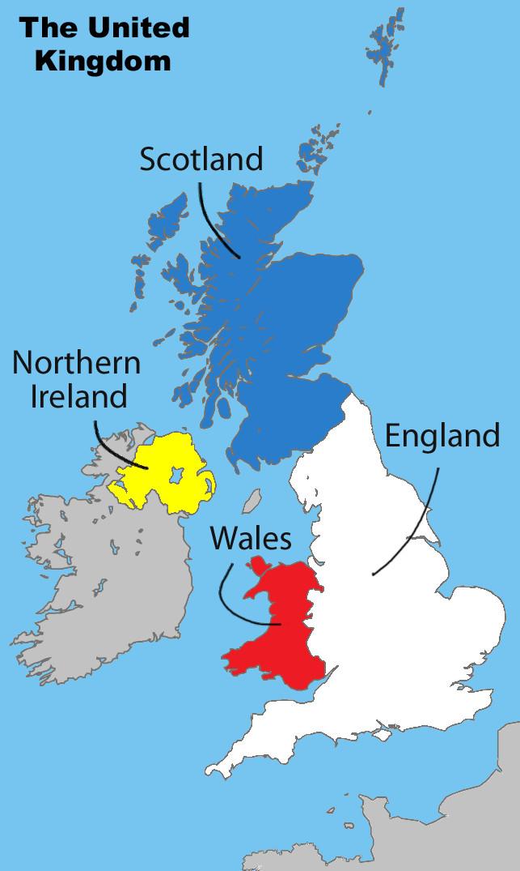 england scotland wales northern ireland UK map